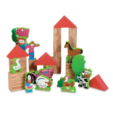 Edushape My Soft World Farm Block Set in Red/Natural/Multi