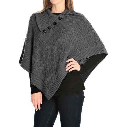 Eight Eight Eight Asymmetric Cotton Poncho - Button Neck (For Women) in Charcoal Heather - Closeouts