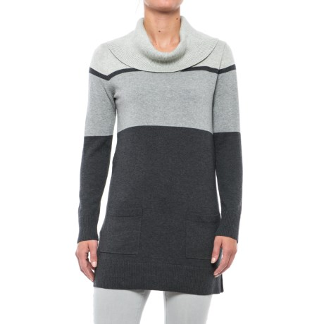 Eight Eight Eight Color-Blocked Sweater - Cowl Neck (For Women) in Charcoal Heather