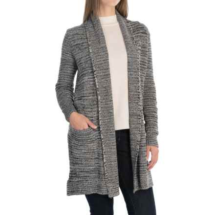Eight Eight Eight Marled Cotton Knit Cardigan Sweater - Open Front (For Women) in Black Combo - Closeouts