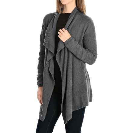 Eight Eight Eight Textured Open Front Cardigan Sweater - Cotton (For Women) in Charcoal Heather - Closeouts