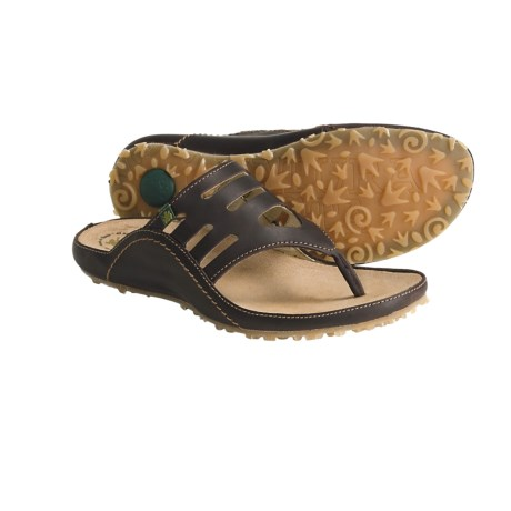 El Naturalista Ikebana N127 Thong Sandals - Leather (For Women) in Brown