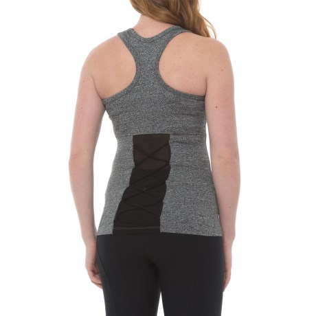 Electric Yoga The Knotty Tank Top - Racerback, Built-In Bra (For Women) in Heather Grey