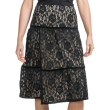 Elegant Skirt with Lace Overlay (For Women) in Black - 2nds