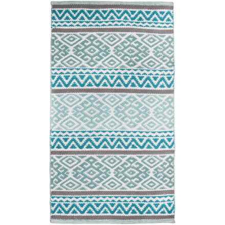 "Element Bordered Damask Jacquard Rug - 27x45"" in Teal - Closeouts"
