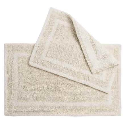 Element Collection Double-Border Bath Rugs - Set of 2, Cotton, Reversible in Ivory - Closeouts