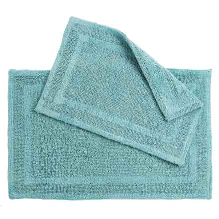 Element Collection Double-Border Bath Rugs - Set of 2, Cotton, Reversible in Nile Blue - Closeouts