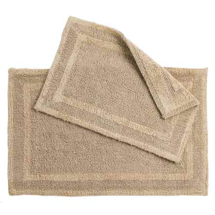 Element Collection Double-Border Bath Rugs - Set of 2, Cotton, Reversible in Sand - Closeouts