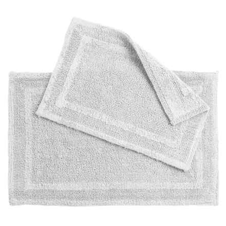 Element Collection Double-Border Bath Rugs - Set of 2, Cotton, Reversible in White - Closeouts