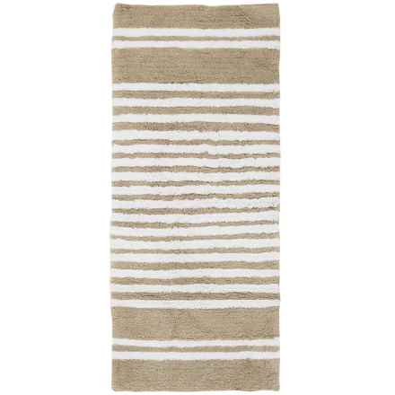 "Element Collection Stripe Bath Rug Floor Runner - 22x54"", Cotton in Beige/White - Closeouts"