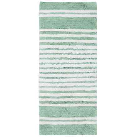 "Element Collection Stripe Bath Rug Floor Runner - 22x54"", Cotton in Mineral Blue/White - Closeouts"