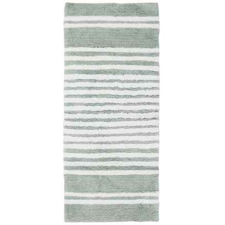"Element Collection Stripe Bath Rug Floor Runner - 22x54"", Cotton in Silver/White - Closeouts"