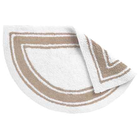 "Element Collection White Stripe Slice Bath Rug - 21x34"", Cotton, Reversible in Sand - Closeouts"