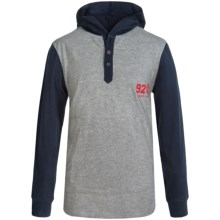 Element Creighton Hooded Henley Shirt - Long Sleeve (For Little and Big Boys) in Grey Heather/Navy - Closeouts