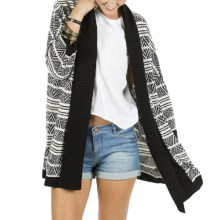 Element Eden Mai Cardigan Sweater - Open Front, 3/4 Sleeve (For Women) in Black - Closeouts