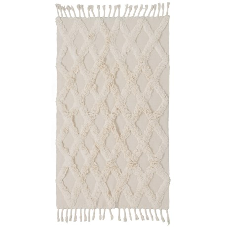 Element Ivory Textured Cotton Accent Rug - 4x6' in Ivory