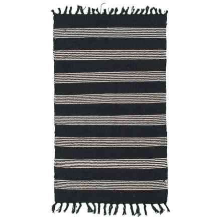 "Element Solid Stripe Cotton Accent Rug - 27x45"" in Black/Natural - Closeouts"