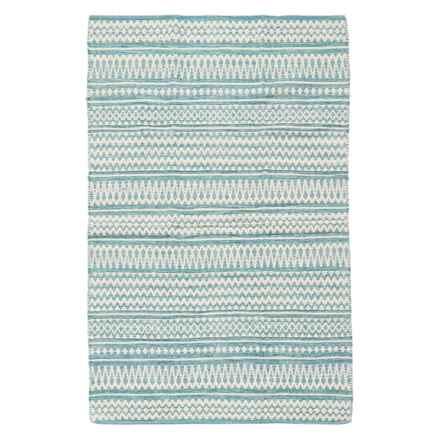Element Woven Cotton Area Rug - 4x6' in Aqua - Overstock