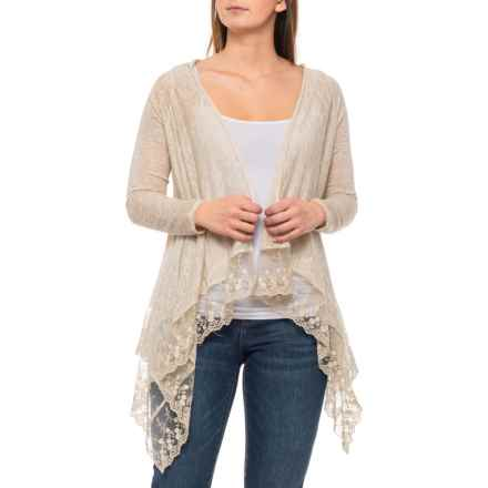 Elena Baldi Made in Italy Lace Trim Cardigan Sweater - Open Front, Beige (For Women) in Beige