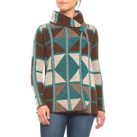Elisabetta Made in Italy Abstract Argyle Wrap Cardigan Sweater (For Women) in Brown/Oatmeal/Teal - Closeouts