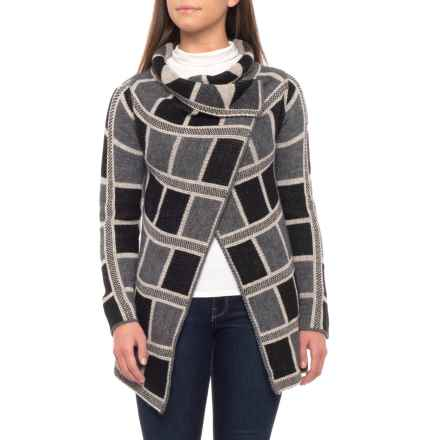 Elisabetta Made in Italy Asymmetrical Wrap Cardigan Sweater (For Women) in Grey/Black/Ivory - Closeouts
