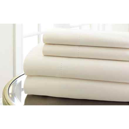 Elite Home Hemstitch Collection Cotton Sateen Sheet Set - King, 600 TC in Ivory - Closeouts