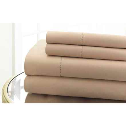 Elite Home Hemstitch Collection Cotton Sateen Sheet Set - Queen, 600 TC in Taupe - Closeouts