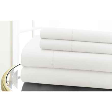 Elite Home Hemstitch Collection Cotton Sateen Sheet Set - Queen, 600 TC in White - Closeouts