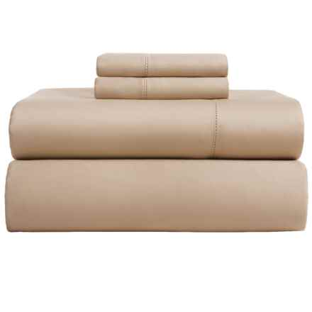 Elite Home Hemstitch Cotton Sateen Sheet Set - Full, 600 TC in Taupe - Closeouts