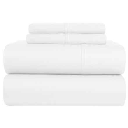 Elite Home Kingston Cotton Sheet Set - Queen, 420 TC in White - Closeouts