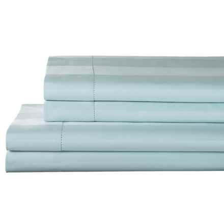 Elite Home Prescott and Blake Tuxedo Stripe Sheet Set - Queen, 325 TC Pima Cotton in Light Blue - Closeouts