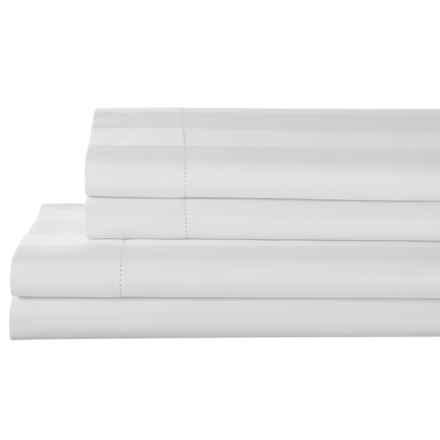 Elite Home Prescott and Blake Tuxedo Stripe Sheet Set - Queen, 325 TC Pima Cotton in White - Closeouts