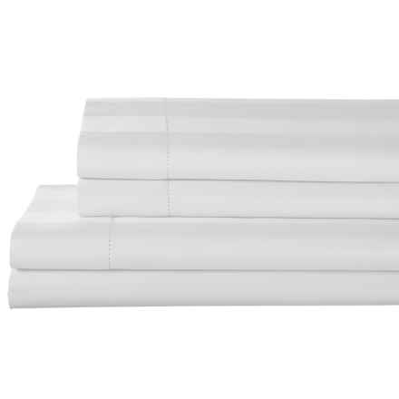 Elite Home Prescott and Blake Tuxedo Stripe Sheet Set - Twin, 325 TC Pima Cotton in White - Closeouts