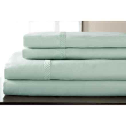 Elite Home Verona Cotton Wrinkle Resistant Sheet Set - King, 300 TC in Spa Blue - Closeouts