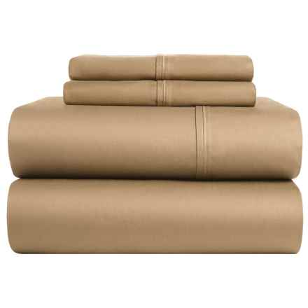 Elite Home Yardley Cotton Sateen Solid Sheet Set - Queen, 300 TC in Taupe - Closeouts