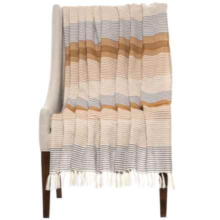 """Elizabeth York Bravo Stripe Throw Blanket - 50x60"""" in Desert - Closeouts"""