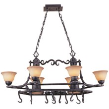 Elk Lighting Grand Oval Chandelier and Pot Rack - Ferro Collection in Mahogony Rust - Closeouts