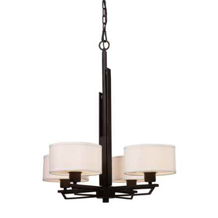 Elk Lighting Iron Heights Chandelier - 4-Light in Oiled Bronze W/Fabric Drum Shade - Closeouts