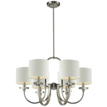 Elk Lighting Montauk Chandelier with Shades - 6-Light in Pewter W/White - Closeouts