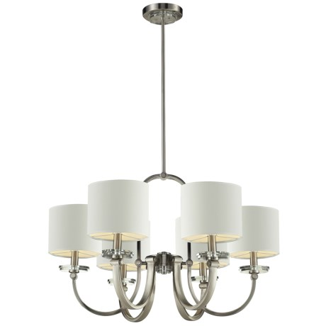 Elk Lighting Montauk Chandelier with Shades - 6-Light in Pewter W/White