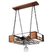Elk Lighting Napa 4-Light Chandelier with Wine & Glass Rack in Matte Black/Wood Grain - Closeouts