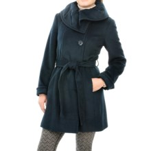 Ellen Tracy Asymmetrical Coat - Ruffled Collar (For Women) in Parisian Blue - Closeouts