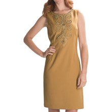 Ellen Tracy Beaded Sheath Dress - Sleeveless (For Women) in Honey - Closeouts
