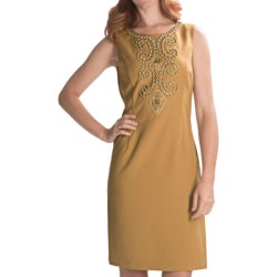 Ellen Tracy Beaded Sheath Dress - Sleeveless (For Women) in Honey
