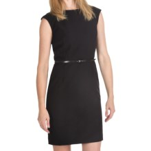 Ellen Tracy Belted Sheath Dress - Short Sleeve (For Women) in Black - Closeouts