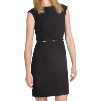Ellen Tracy Belted Sheath Dress - Short Sleeve (For Women) in Black
