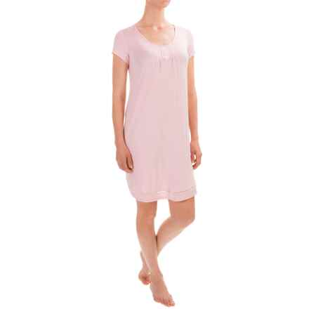 Ellen Tracy Button-Accent Nightshirt - Short Sleeve (For Women) in Pink - Closeouts