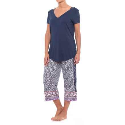 Ellen Tracy Capri Pajamas - Short Sleeve (For Women) in White/Blue - Closeouts