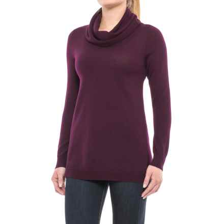 Ellen Tracy Cashfeel Cowl Neck Tunic Sweater - Merino Wool, Split Back (For Women) in Blackberry - Closeouts