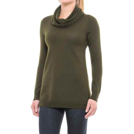 Ellen Tracy Cashfeel Cowl Neck Tunic Sweater - Merino Wool, Split Back (For Women) in Chive Heather - Closeouts